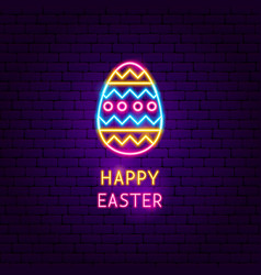 Happy easter neon label vector