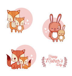 Happy mothers day card with cute animals cartoons vector