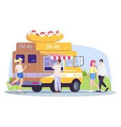 hot dog truck flat summer outdoor rest in town vector image