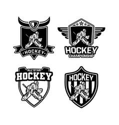 ice hockey logo badge set for team vector image