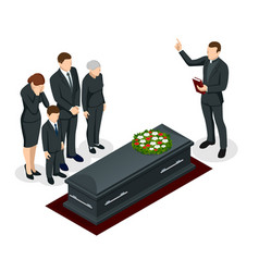 Isometric funeral ceremony at cemetery sad vector