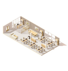 isometric low poly office vector image