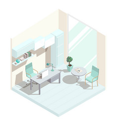 isometric office interior vector image