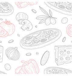 italian pizza seamless pattern traditional vector image