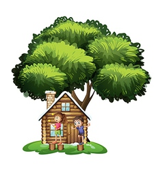 Kids playing outside house under tree vector