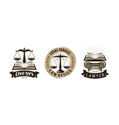 lawyer law office logo or label legal services vector image
