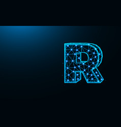 letter r low poly design alphabet abstract vector image