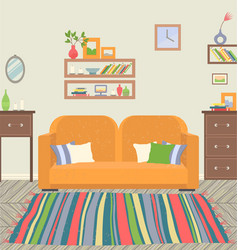 Living room interior sofa and carpet decoration vector