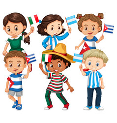 many children holding flag from different vector image