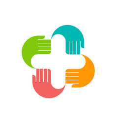 medical abstract hand logo icon vector image
