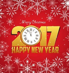 Merry christmas and Happy new year 2017 with vector