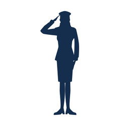 Military woman silhouette icon vector