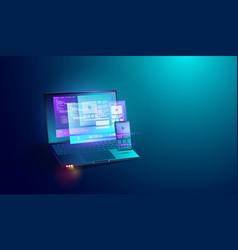 Mobile application development on laptop screen vector