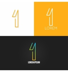 Number one 1 logo design icon set background vector