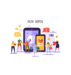 Online shopping concept with characters mobile vector