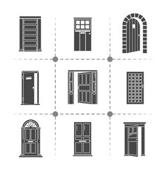open and closed door silhouettes icons set vector image