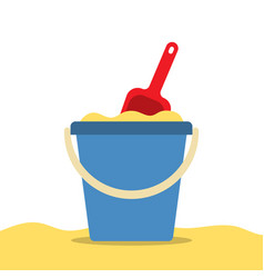 pail with sand and shovel for a sandbox beach toys vector image