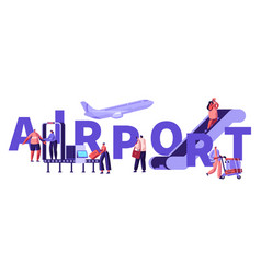 Passengers in airport concept people put baggage vector