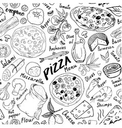 Pizza seamless pattern hand drawn sketch pizza vector