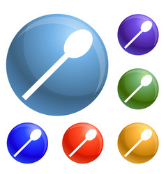 plastic spoon icons set vector image