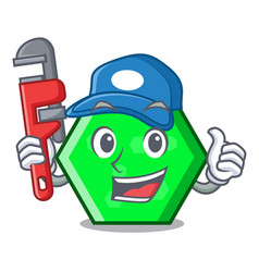 Plumber octagon mascot cartoon style vector