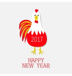 Red Rooster Cock bird 2017 Happy New Year text vector image