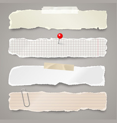 ripped paper strips with adhesive tape realistic vector image
