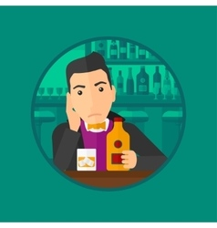 Sad man drinking alcohol vector