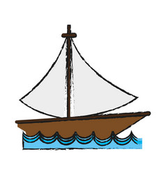 sailboat on water icon image vector image