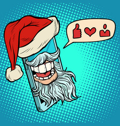 santa claus puts likes through smartphone vector image