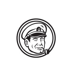 Sea Captain Pipe Smoke Circle Black and White vector