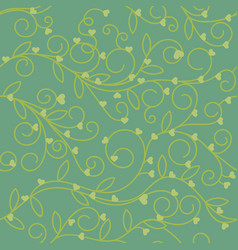 Seamless floral heart fabric green olive tone vector