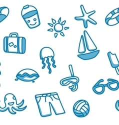 Seamless patten with beach elements vector