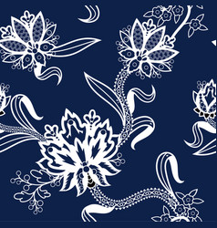 seamless pattern with chinese white flowers on vector image