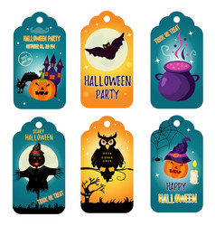 set of halloween tags with holiday characters vector image