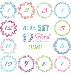 Set of hand-drawn floral frames vector