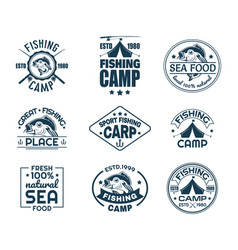 Set of isolated fishing sport logo with fish vector