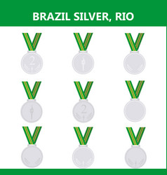 set of silver medals icons brazil rio summer vector image