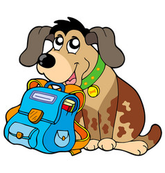 Sitting dog with school bag vector