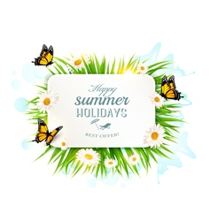Square happy summer holidays banner with grass vector image