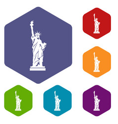 statue of liberty icons set vector image