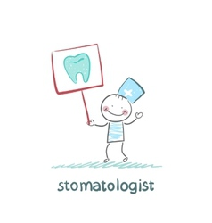 Stomatologist with a placard on which painted a vector
