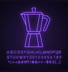 Stove top coffee maker neon light icon vector