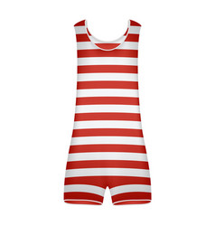 Striped retro swimsuit in red and white design vector