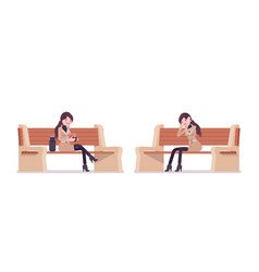 Stylish woman in autumn wear sitting on a bench vector