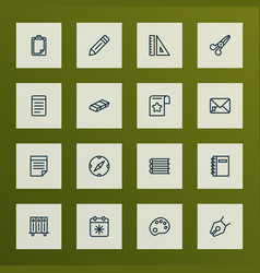 Tool icons line style set with folders on shelf vector