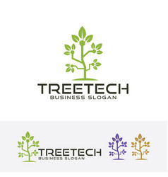 Tree tech logo vector