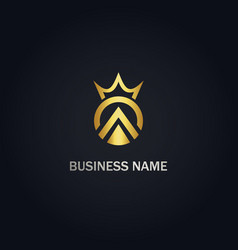 Triangle crown gold logo vector