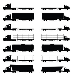 Trucks vehicle set in black color vector