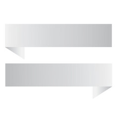two white ribbon banner on white background two vector image